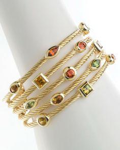 David Yurman FiveRow Tsavana Tourmaline Confetti Bracelet in Gold (yellow gold)