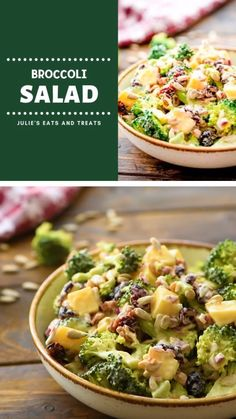 cookie salad A quick and easy Broccoli Salad perfect for the holidays ready in 15 minutes! This healthy broccoli salad recipe is a mixture of fresh broccoli, red onion, bacon, dried cranb Best Broccoli Salad Recipe, Low Carb Broccoli Salad, Salad Recipes With Bacon, Fresh Broccoli, Healthy Salad Recipes, Raw Food Recipes, Cabbage And Broccoli Recipe, Bacon Salad, Broccoli Cauliflower