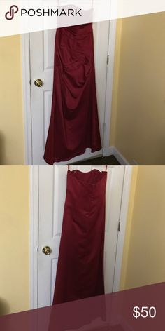 Sateen dress red wine color Sateen dress wore once. Fits very nicely size 8 Dresses Strapless