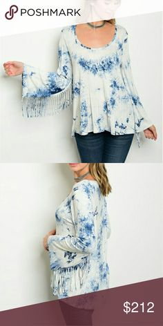 dc14dac3d Coming soon Sassy tie dye long sleeved top with playful fringed details on  sleeves! Pair with jeans, boots and a floppy hat! Gran this sassy top  before it's ...