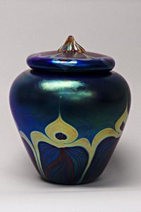"""Lidded Vessel (Blue Peacock)"" Art Glass Jar Created by Carl Radke $770 