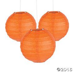 Mini Orange Hanging Paper Lanterns - OrientalTrading.com