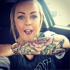 My sleeve :) ink rose tattoo dove flower butterfly