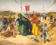 Painted by José Malhoa - Promises Portugal, Francisco Jose, John William Waterhouse, Spanish Artists, Gustav Klimt, Paint Designs, Art And Architecture, Culture, Watercolor
