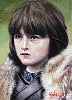 Original ACEO Isaac Hempstead Wright Brandon Stark Game of Thrones by V. Geo