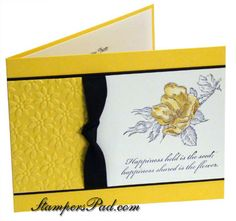yellow card with a touch of black and a panel of white.like the textured panel and the knotted ribbon. Batman Invitations, Yellow Wedding Invitations, Smash Book, Love Flowers, Daisies, One Color, Stampin Up Cards, Stamping, Layouts