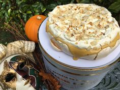 Luscious Autumnal Pavlova with Brown Sugar Lime Curd Creamed Eggs, Toasted Almonds, Pavlova, Melted Butter, Cooking Time, Brown Sugar, Lime, Baking, Halloween