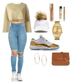 """""""Fire and Gold"""" by babygirlnia14 ❤ liked on Polyvore featuring adidas Originals, Bulova, MICHAEL Michael Kors, Kylie Cosmetics and Michael Kors"""