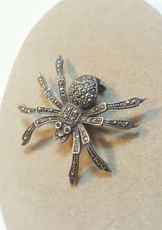Vintage Sterling Silver Marcasite Spider Pin by Bentspoonjewelry