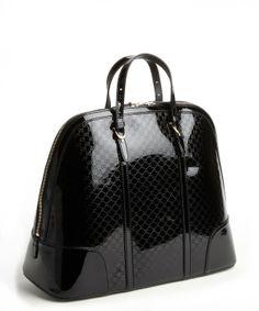 2d87c56a1a1 Gucci Black GG patent leather large bowler bag Gucci Purses, Gucci Handbags,  Designer Handbags