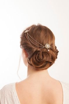 Rose Gold Wedding Headpiece with swags  by RoseRedRoseWhite