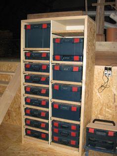 Forum: Project: L-Boxx cabinet building – BoschPTBEUCommunityDE - oldsquad. Garage Organization Tips, Diy Garage Storage, Workshop Organization, Tool Storage, Workshop Storage, Garage Workshop, Woodworking Shop, Woodworking Plans, Diy Projects For Adults