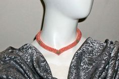 Coral and Gold Woven Bead V-Shape Contemporary by PruAtelier