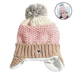 7112b10af58 Details about Toddler Kids Girl Boy Baby Winter Earflap Crochet Knit Hat  Beanie Cap Scarf Set