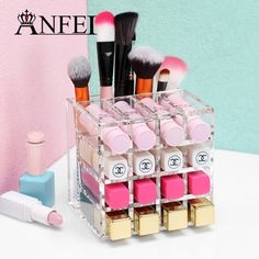 ANFEI New Clear Acrylic 16 Grids Cosmetic Box Lipstick Stand Makeup Brush Case Organizer Jewelry Display Storage Box For Women