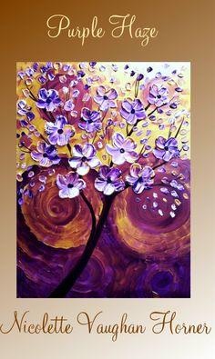 Original Impasto abstract painting on canvas 'Purple Haze ' by Nicolette Vaughan Horner. $99.00, via Etsy. #buyart #cuadrosmodernos #art