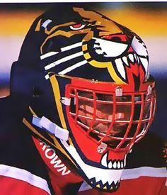 John Vanbiesbrouck - Florida Panthers - he had the best helmet Goalie Pads, Goalie Gear, Hockey Goalie, Hockey Teams, Ice Hockey, Hockey Stuff, Panthers Team, Florida Panthers, Gal Gadot Wonder Woman