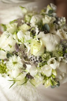 Flower Design Events: Heavenly White & Silver Grey Wedding Bouquet