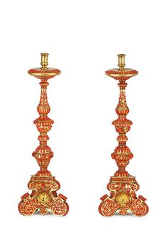 A pair of gilt copper and coral candlesticks, Trapani, 17th century.