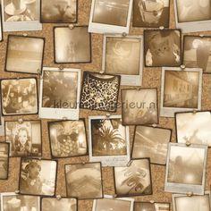 Prikbord met fotos sepia behang EW2001, uit de collectie Exposed Warehouse van Dutch Wallcoverings, koop je bij kleurmijninterieur