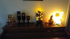 Mantel or Piano Display of Halloween crafts