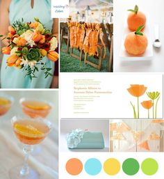 Nectarine  & Aqua  Wedding Color Inspiration