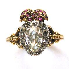 Georgian diamond heart ring