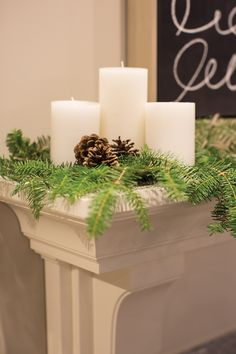 Fireplace Mantle with Christmas Decor, + Candles