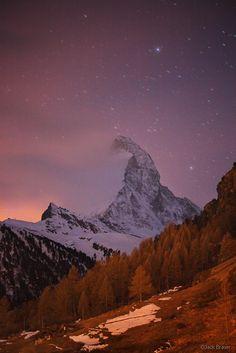 Moonrise and stars over Matterhorn, Zermatt, Switzerland