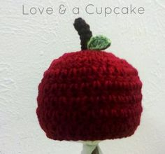 Crochet Red Apple Baby Beanie Baby Hat 06 months by LoveNaCupcake, $15.00