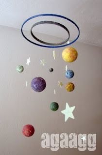 solar system mobile using styrofoam balls