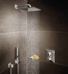 For a clean architectural look, choose a square shower head recessed into the ceiling of the shower area or make an impact with an extra large shower head suspended from the ceiling.