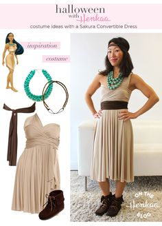 Disney's Pocahontas costume - Halloween Inspiration with a Convertible Dress! #henkaaween