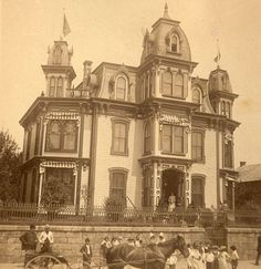 Great vintage photo of Kaier Mansion - Circa 1874  Second Empire Victorian Mansion, located in an old coal-mining town in Mahanoy City, Pennsylvania. Also pictured are beautiful Victorian costumed people by a Horse and Buggy. Great pic!
