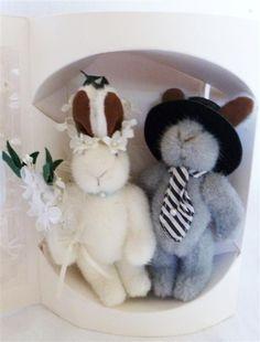 *1989 Muffy vanderBear & Hoppy vanderHare ~Hare Comes The Bride ~Wedding ,Bride & Groom 12,5cm