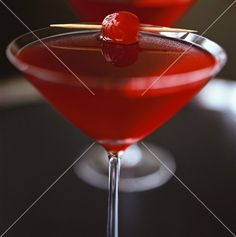 Cranberry Martini with cocktail cherry