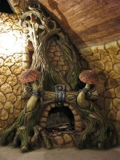 Fireplace Art, Fireplace Design, Earthship Home, Fairytale Cottage, Rock Fireplaces, Fantasy House, Concrete Art, Fairy Houses, Cool Furniture