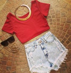 Red crop top, high waisted shorts, accessories