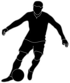 black white silhouette soccer player