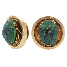 Art Nouveau Rare Egyptian Revival Gold Scarab Beetle Cufflinks | From a unique collection of vintage cufflinks at http://www.1stdibs.com/jewelry/cufflinks/cufflinks/