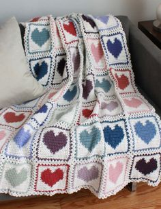 Maggie's Crochet · Scrap Hearts Afghan Pattern - This would be a great way to use my scraps!might try to get free graph and go from there. Motifs Afghans, Afghan Crochet Patterns, Crochet Stitches, Crochet Hooks, Crochet Blankets, Quilt Pattern, Crochet Afgans, Crochet Baby, Knit Crochet