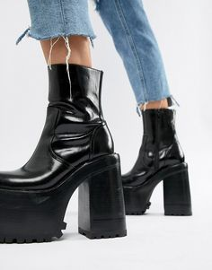 8417c59ce9 Jeffrey Campbell leather extreme platform ankle boots in black Asos