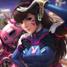 "1,518 Likes, 9 Comments - Lewis Campbell (@insidific) on Instagram: ""Been playing a load of Overwatch recently, been loving D.Va! D.Va By Jonathan Hamilton  #Dva #Diva…"""