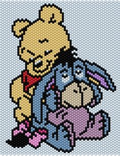 Baby Winnie the Pooh and Eeyore Brick/Peyote Pattern 62 Columns X 62 Rows (Pattern by me, Man in the Book) Pony Bead Patterns, Peyote Patterns, Beading Patterns, Plastic Canvas Ornaments, Plastic Canvas Crafts, Cross Stitch Designs, Cross Stitch Patterns, Disney Stich, Beaded Banners