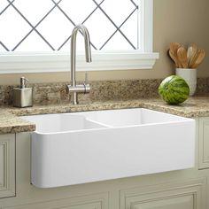 """32""""+Chelton+Double-Bowl+Fireclay+Farmhouse+Sink+-+White"""