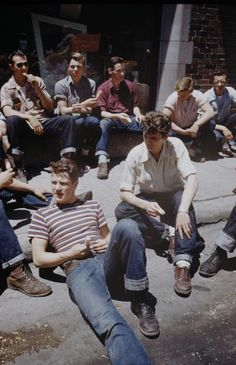 Teens, 1950s  Teenage boys wearing the style they are most accustomedto throughout the United States; Jeans, leather boots (shoes are acceptable) and button up shirt with carefully rolled sleeves (a tee shirt may be worn under this or by itself).