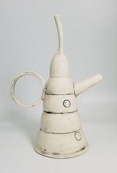 Teapot 3 by Lori Katz (Ceramic Teapot) Ceramic Teapots, Ceramic Pottery, Black And White Lines, Ceramic Studio, Ceramic Artists, Paint Finishes, Minimalist Art, Decorative Bells, Stoneware
