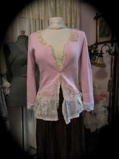 Upcycled Pink Sweater romantic shabby chic by TatteredDelicates, $70.00