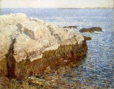 """Cliff Rock - Appledore,"" Childe  Hassam, 1903, oil on canvas, 29 x 36"", 	Indianapolis Museum of Art."