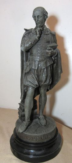 antique late 1800's bronzed metal wood William Shakespeare figural statue figure   eBay